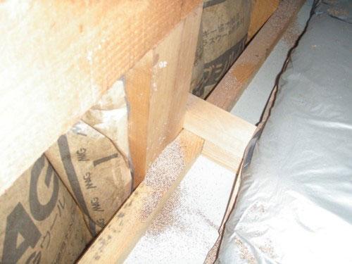 2階小屋裏の桁 アメリカカンザイシロアリの虫糞